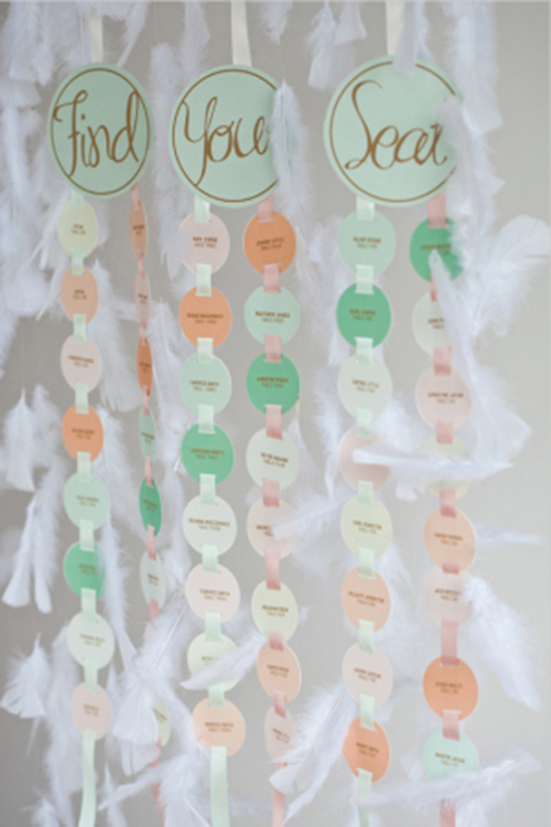 Very Cute pastel escort cards