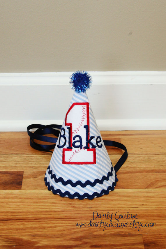 Baseball party hat on etsy- How cute!