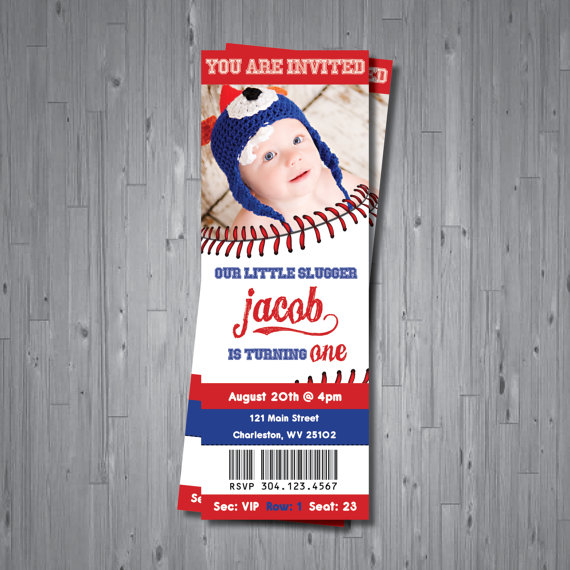 Baseball ticket birthday invites on Etsy