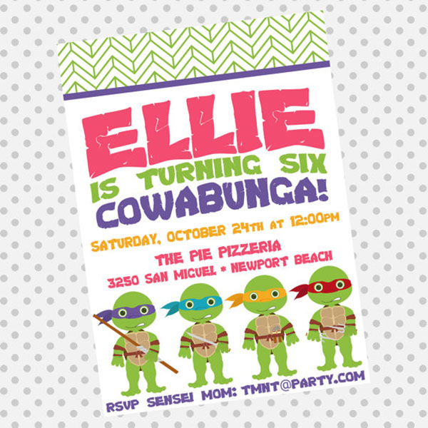 Cute TMNT Birthday party invite!