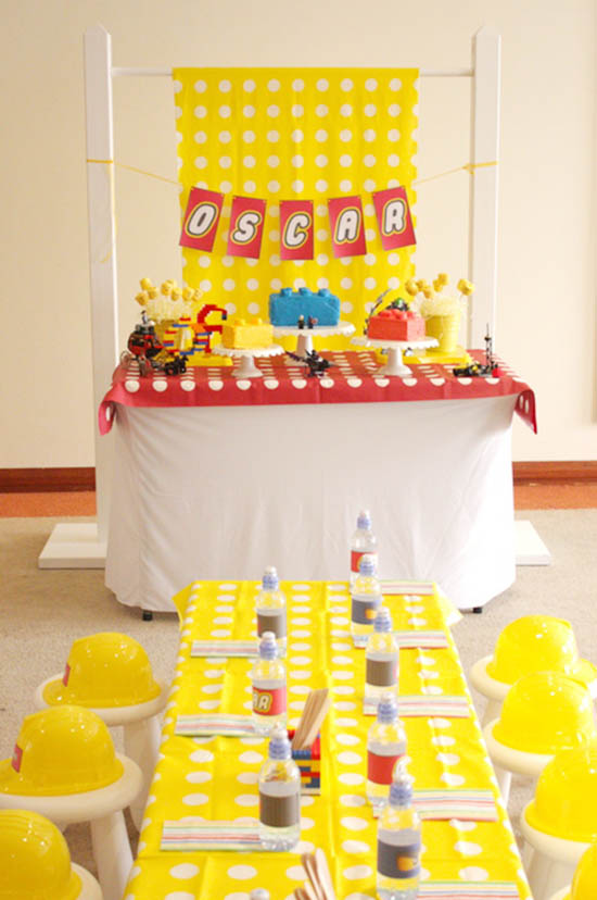 Darling lego party dessert bar and table