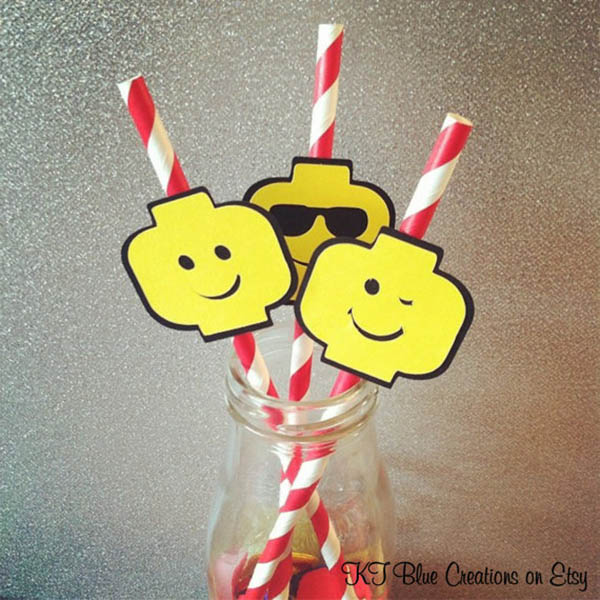 Lego Head drink straws!