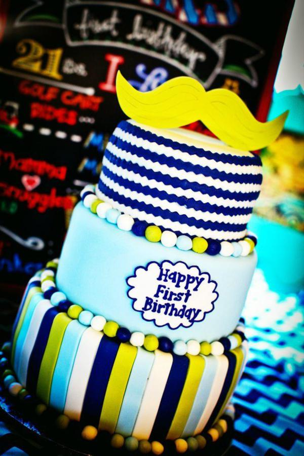 Love this mustache party cake!