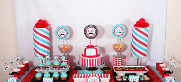Red and blue little man mustache party