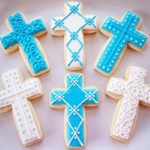 Beautifully decorated Cross cookies