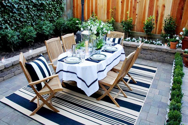 Cozy nautical themed outdoor dinner party
