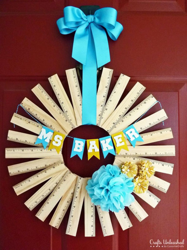 Cute back to school ruler wreath on Etsy!