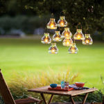 Hanging Clear glass lanterns are perfect for outdoor parties!