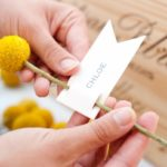 Yellow Billy ball escort cards