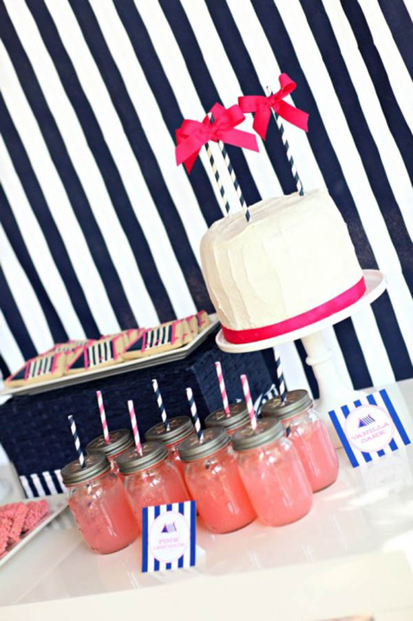 Cute navy and pink glamping party