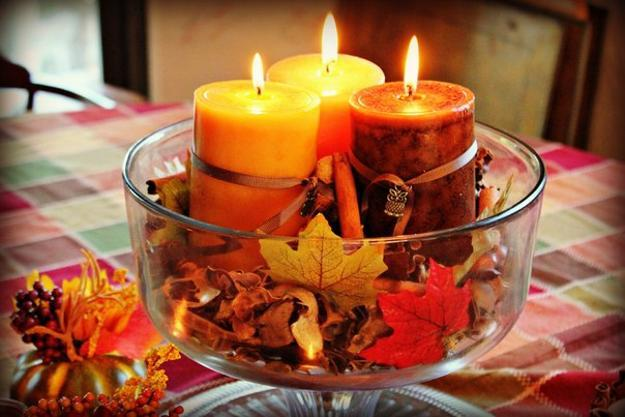 Fall leaf centerpiece with glowing candles