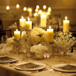 Love Candle Centerpiece with Silver Candlestands