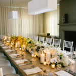 Love the candles in this floral arrangement! So chic