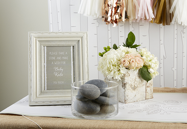 Love this idea of signing rocks for a rustic baby shower
