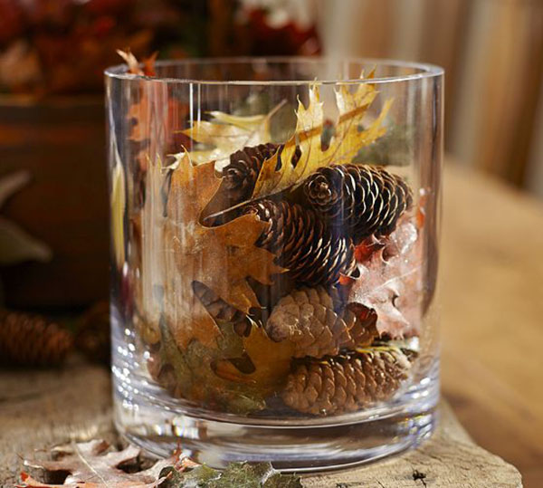 Rustic Natural Fall Leaf Centepiece