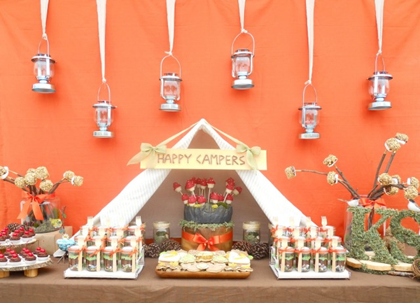This Camping party dessert table is too cute!