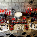 Amazing Red And Black Skull Themed halloween Party
