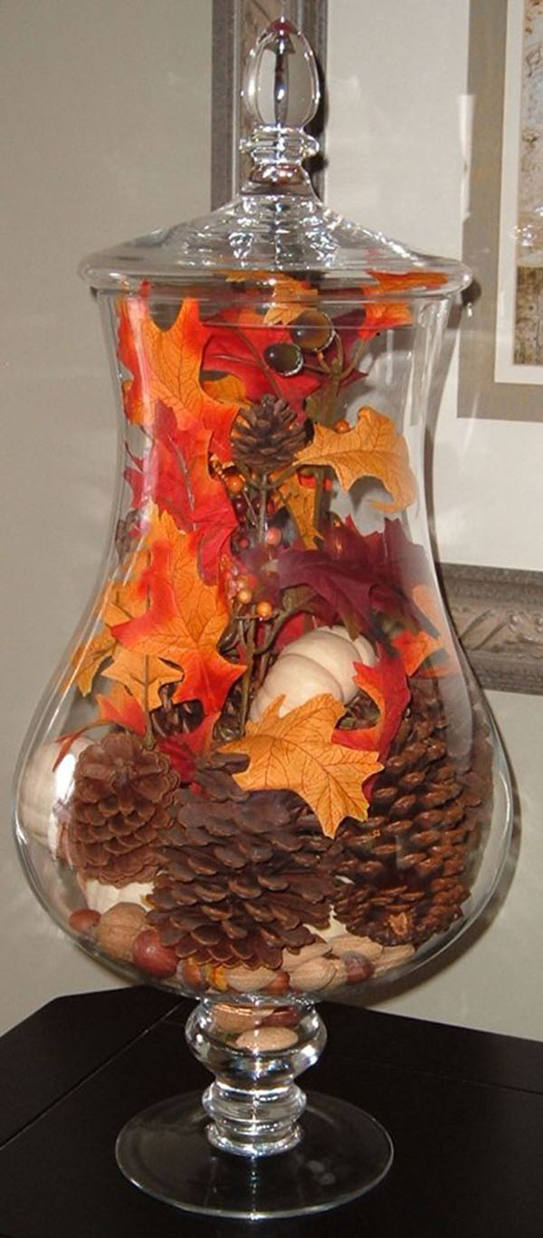 Beautiful Jar Filled with Fall Decor