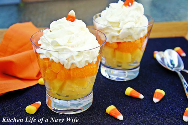Candy Corn Fruit Cups For Halloween!