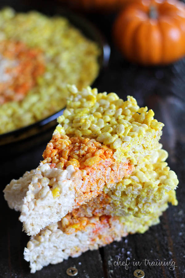 Candy Corn Rice Crispie Treats