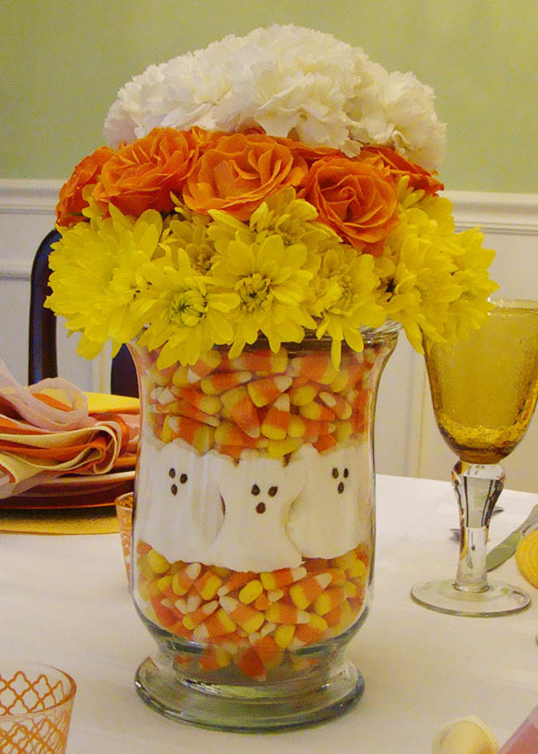 Candy corn centerpieces b lovely events