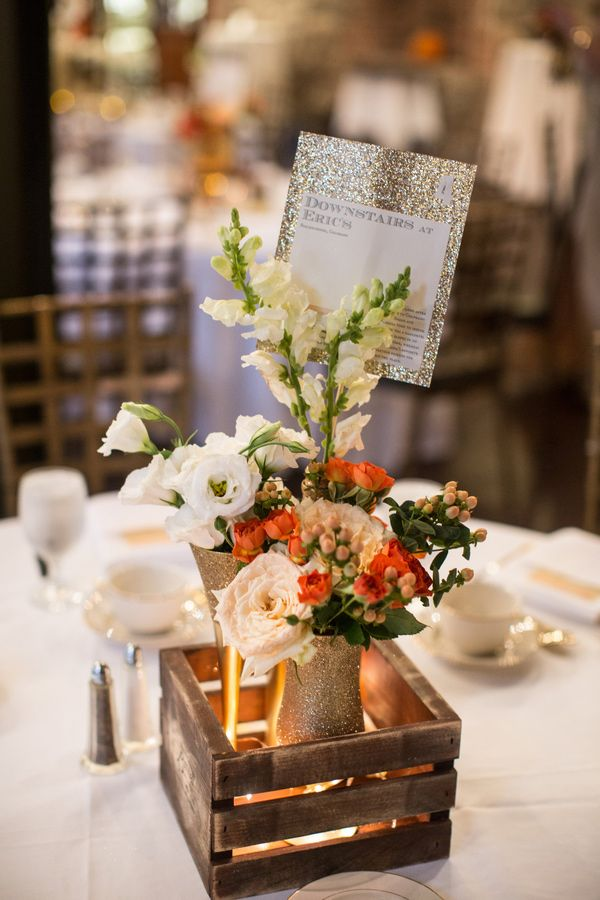 Rustic Gold Centerpiece : Lovely gold glitter wedding ideas b events