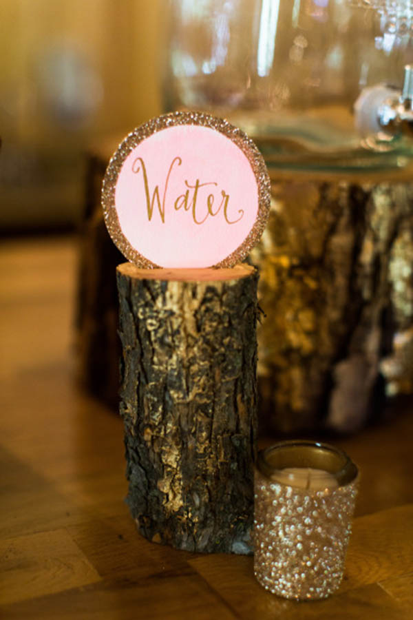Gold Glitter Drink Station Signs