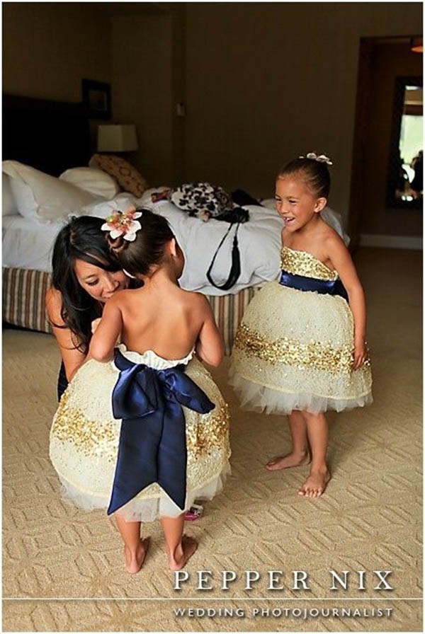 Gold Glitter Flower Girl Dresses