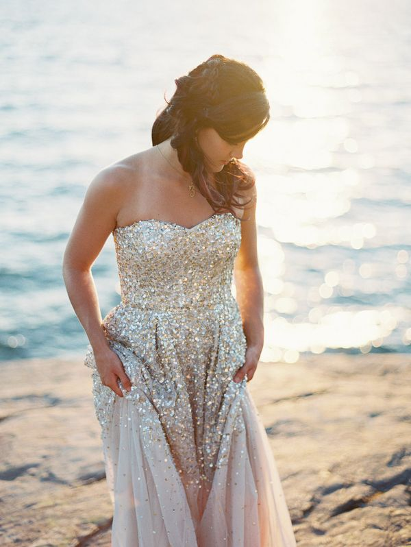 Gold Glitter Wedding Dress