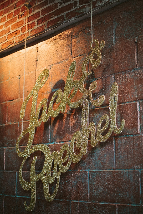 Gold Glitter Wedding Sign