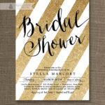 Gold Glitter bridal shower invites