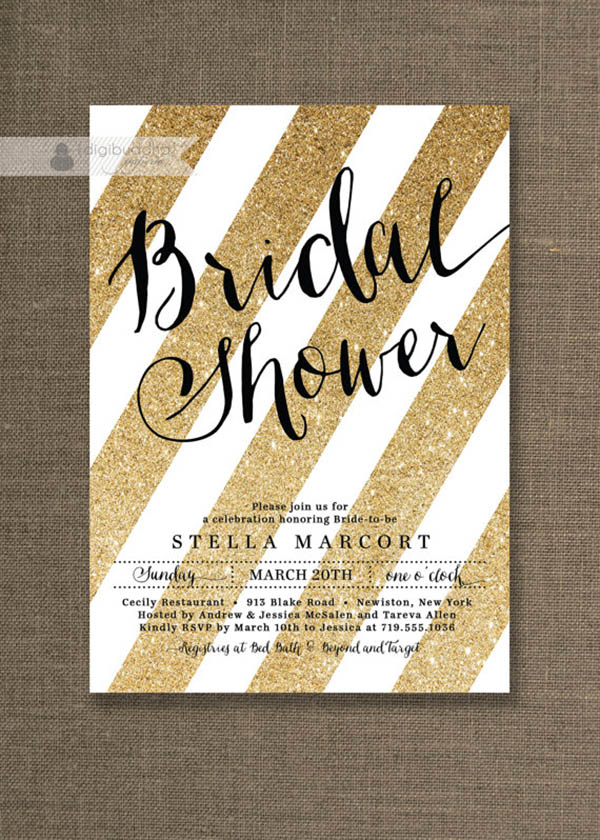 Gold Glitter bridal shower invites