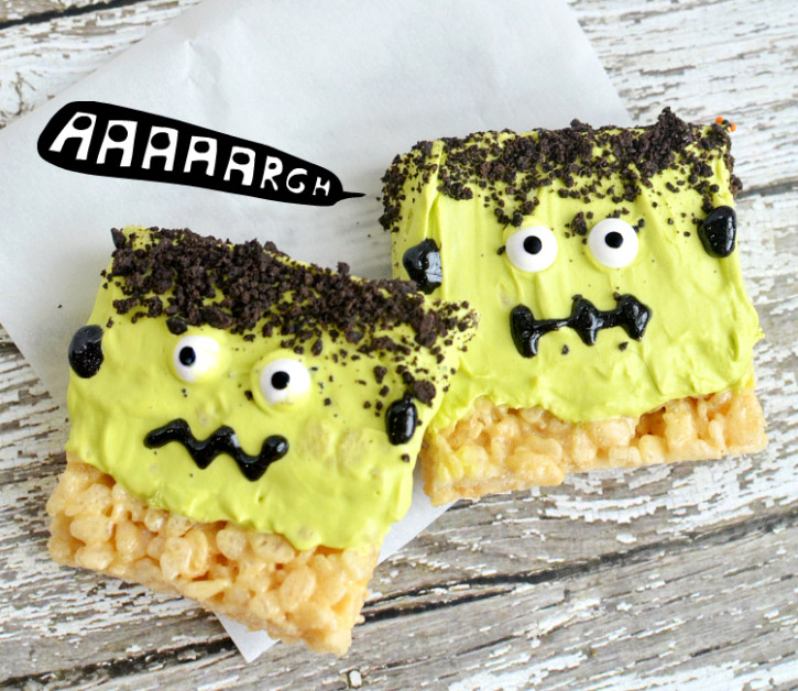 Halloween frankenstein rice krispie treats