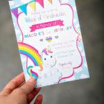 Rainbow Unicorn Party Invites