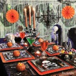 This Skull And Skeleton Halloween Table is amazing!