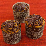 chocolate pumpkin spider muffins