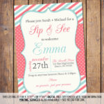 Coral and teal Sip and see invitation