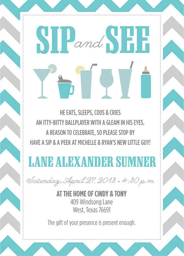 Darling Sip and See Invitation
