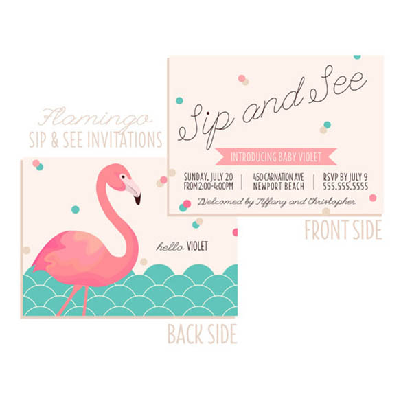 Flamingo Sip and See Invitation