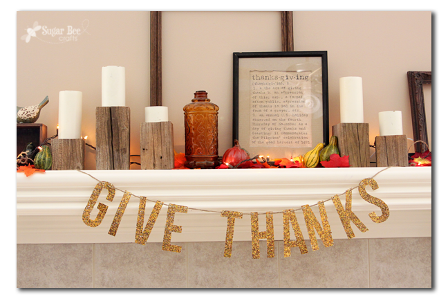 Gold Glitter Give Thanks banner for Thanksgiving!