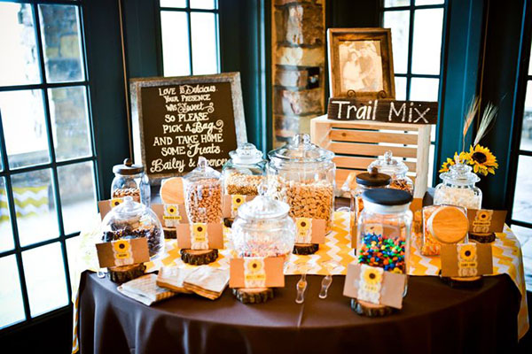 Rustic Wedding Trail Mix Buffet