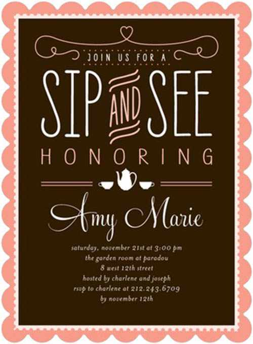Tea Party Sip and See Invitation