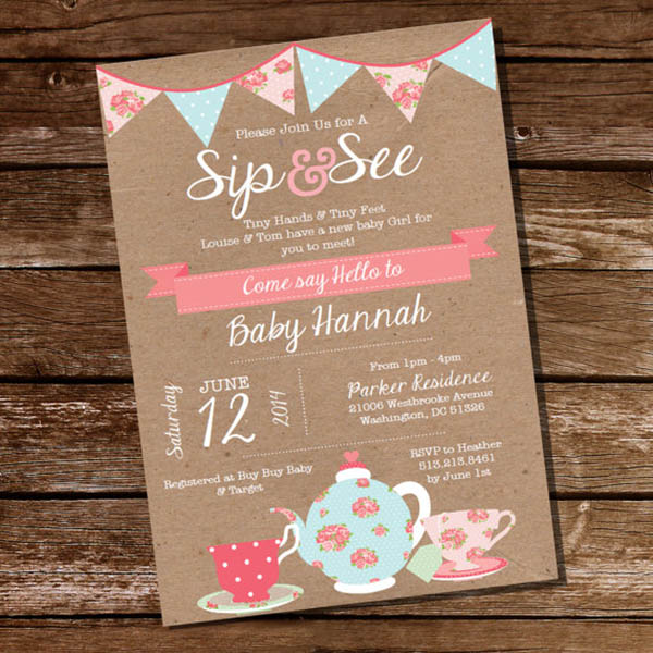 Vintage Rustic Sip And See Invitation