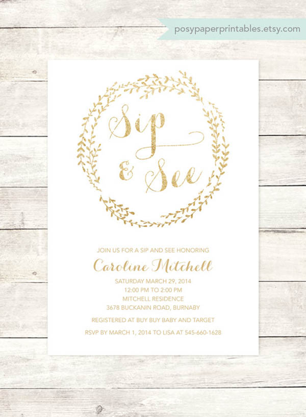 Lovely Sip And See Invitations