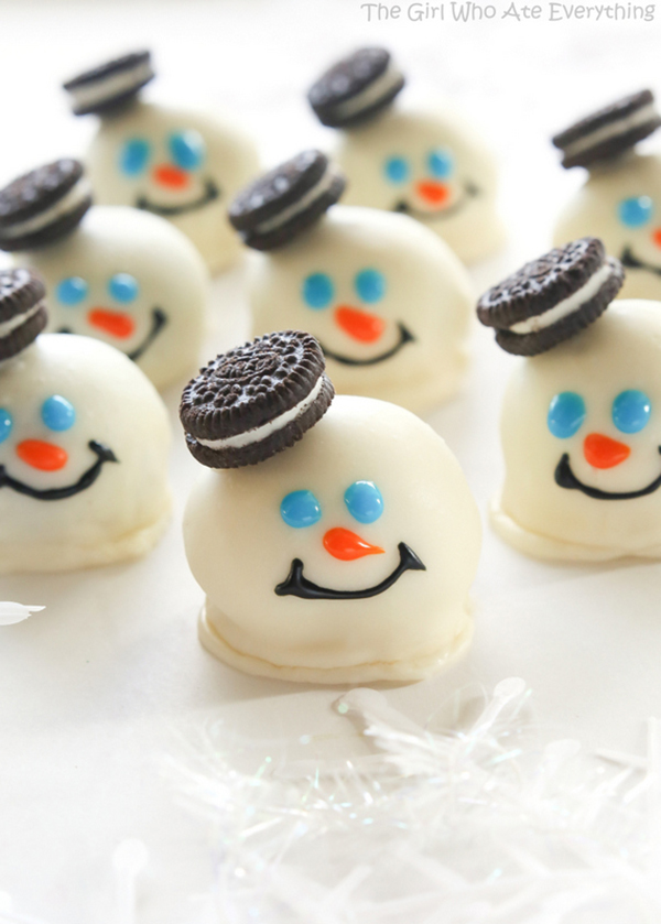 Cute melted snowman oreo balls