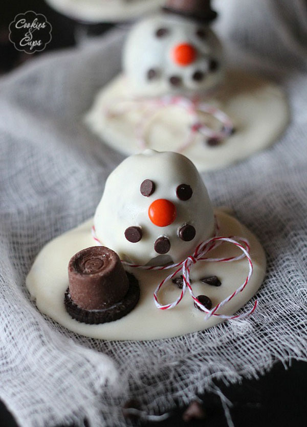 Love these melted snowman truffles