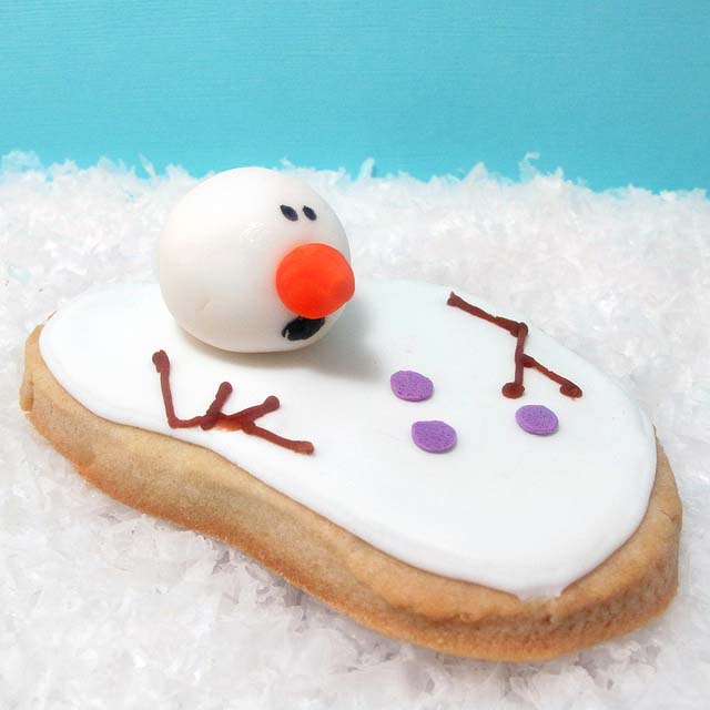 Shocked melted snowman cookies