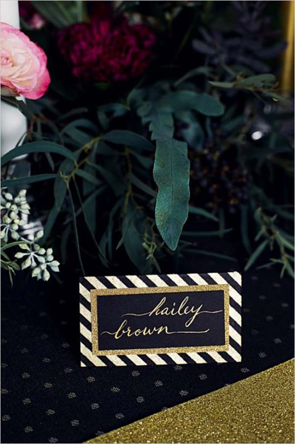 Black and gold sriped place cards