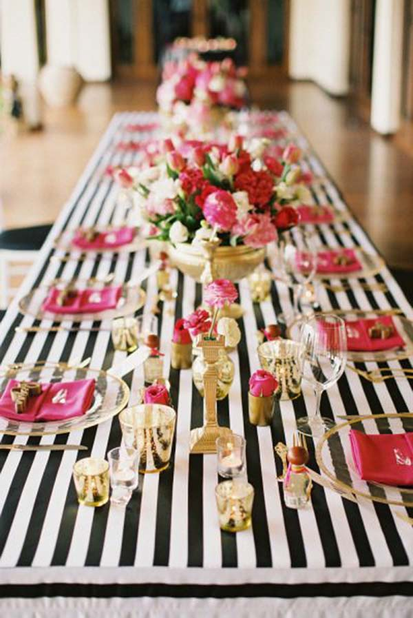 Black And White Pink Tablescape Cute For Bridal Shower