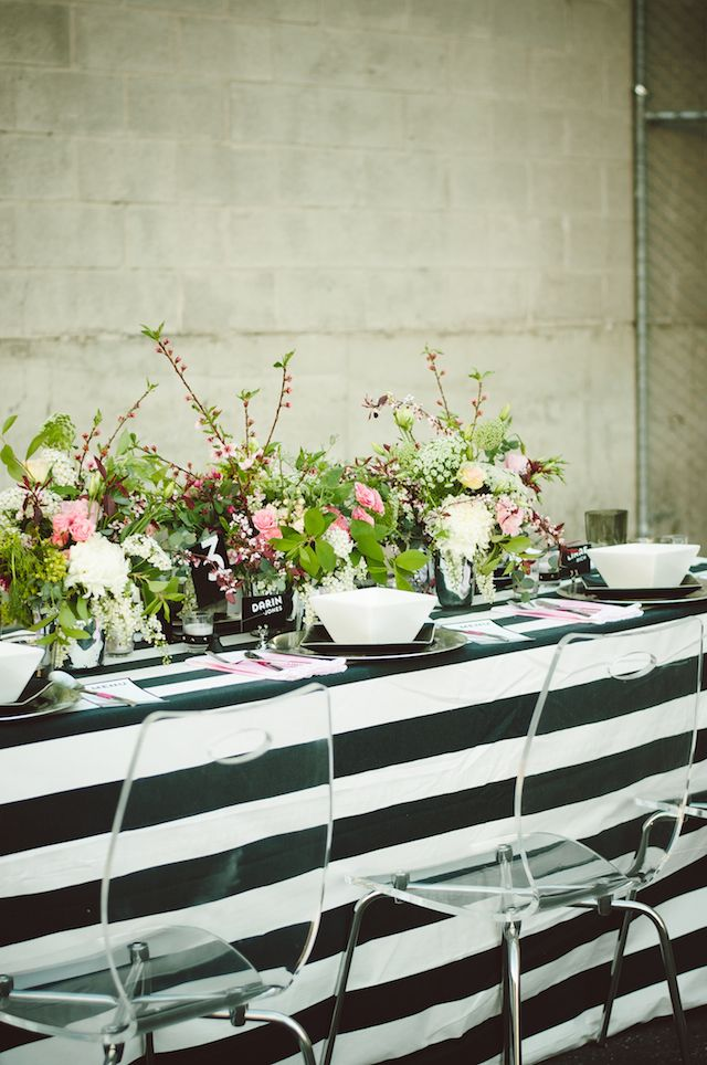 Black and white striped tablescape